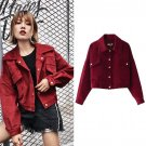 Top Quality Red Wine Loose Jacket Women Fashion Long Sleeve Single Breasted Vintage Bomber Jacket Fe