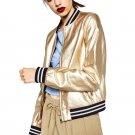 Fashion Women Awesome Cool Punk Metallic PU Leather Bomber Jacket Coat Women Faux Leather Clothes Zi