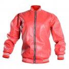 Zip Up Long Sleeve Bomber Jacket Classic Red Faux Leather Moto Biker Jacket Coat Punk Jacket Autumn