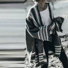 Women Fashion Stripe Flared Sleeve Open Front Cardigan Knit Coat Sweater Autumn Winter Knitwear Outw