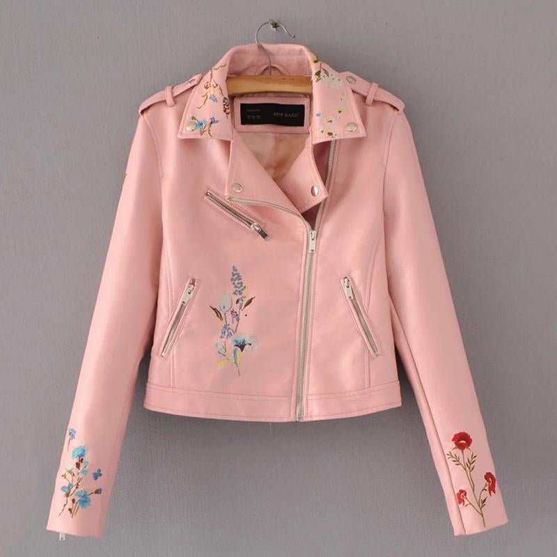2017 New Fashion Brand Women Embroidery Faux Leather PU Jacket Ladies Short Slim Long Sleeve Zipper