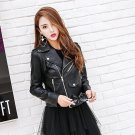 2017 Autumn Black Leather Jacket Lady Back Fringed Motorcycle Long Sleeve Big Lapel Fuax Leather PU