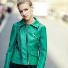 2018 New Women PU Leather Motorcycle Jackets Coats Green Wash Women Motorcycle Faux Leather Jacket C