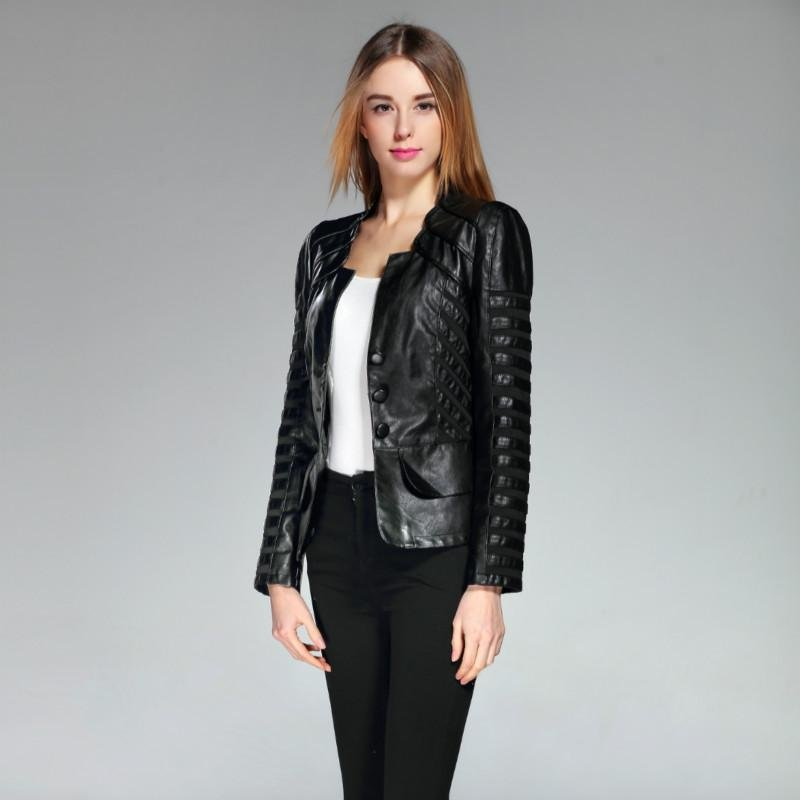 Fashion 2017 Single Breasted Spring Faux Leather Jacket Women Pu Long Sleeve Patchwork Black Plus Si