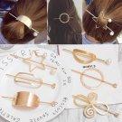 Korean Barrette Moon Triangle Design Metal Hair Clips For Women Hair Accessories Gold Hairpin Heart