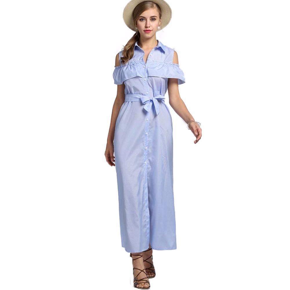 Fashion Sexy Elegant Long Maxi Women Shirt Dress Office Tunic Clothing Clothes Female Lady Vestido D
