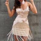 sequin evening party dress Women mesh sexy tassel fringe dresses Female elegant christams mini summe