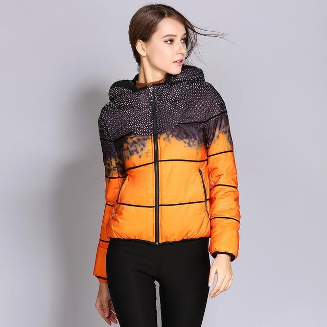 Ukraine Winter Jackets Women 2017 Short Printed Down Coat Female Warm Hood Slim Woman Parka Jacket C