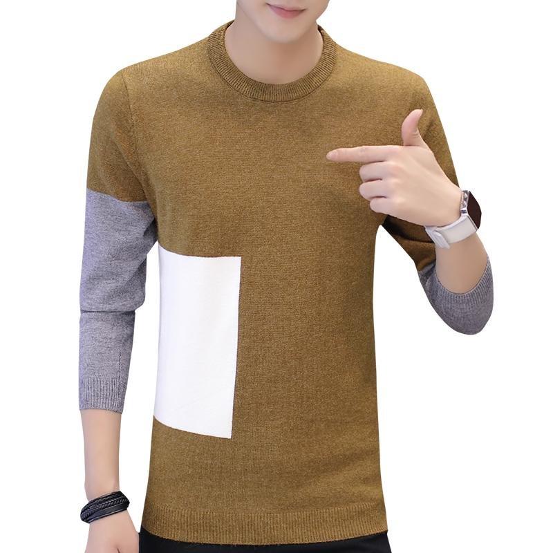 5XL Men\'s Pullover 2017 Autumn and winter Sweater Men Slim O-Neck Sweater Fashion Sweaters Stitchin