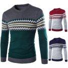 men\'s large size men\'s round neck sweater Korean men\'s bottoming geometric Slim hedging sweater M
