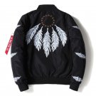 Mens Bomber Jacket Feather Printed Star Embroidery Flight Jackets Pilot Air Force Army Green Militar
