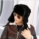 High Quality  Winter Bombers Fancy Russian Fur Hat for Men Warm Russian Ushanka Hats Solid Color Tra