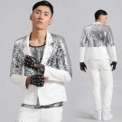 Silver sequins party Leather blazer jacket male costume bar DJ outerwear singer dancer star party pe