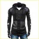 2017 PU Leather Pacthwork Black Gray Hip Hop Hoodie Men Fashion Long Zipper Sportwear Cardigans Coat