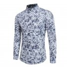 2017 Autumn Spring Men Fashion Floral Long Sleeve Shirt Casual Slim Fit Multi Colors Mens Retro Shir