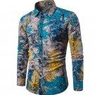 New Autumn Men Long Sleeve Shirt Plus Size Fashion Lapel Casual Dress Shirt Printed Hawaiian Shirt C