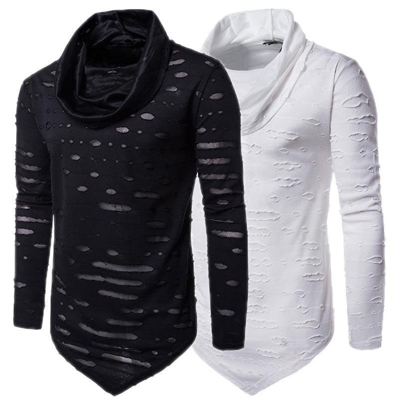 2017 Male Tops T-shirts Fashion Brand Muscle Men Turtle Neck Long Sleeve T Shirt Street Hip Hop Asym