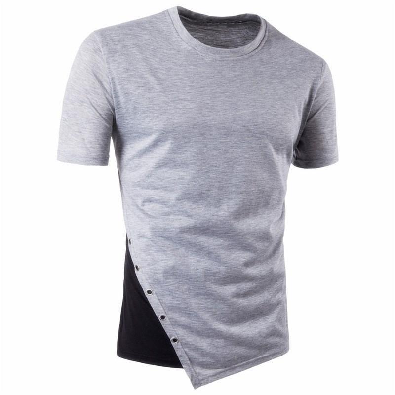 2017 Summer Men\'s T-shirt Short Sleeve Round Neck Color Patchwork Basic Tee Shirts Casual Hip Hop B