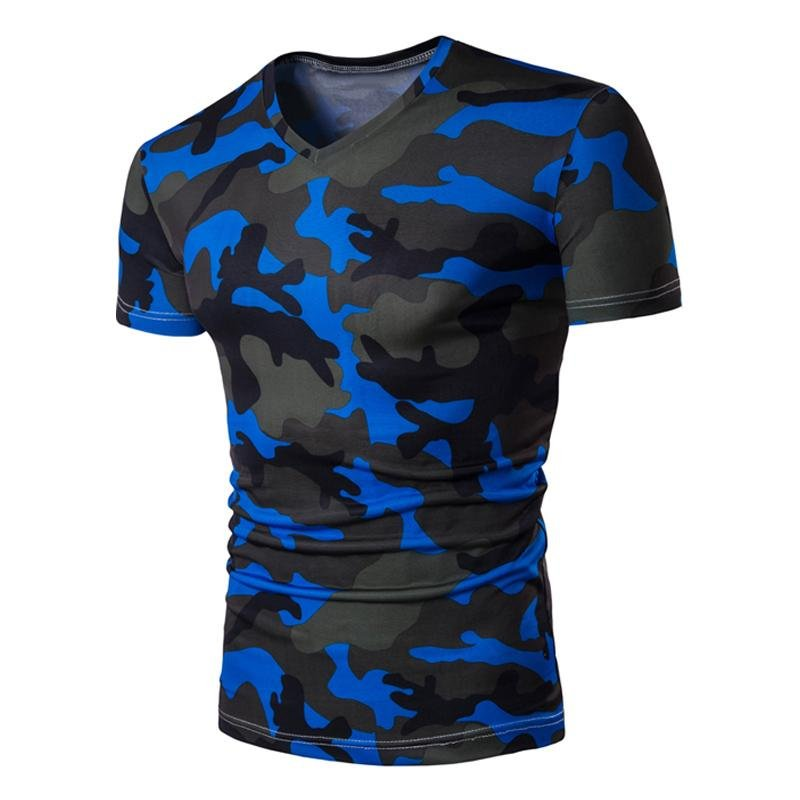 Brand New Fashion Military Camouflage T-shirt Men 2017 Summer V-neck Short Sleeve Slim Fit Casual Te