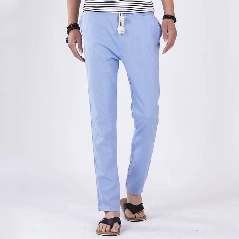 Loose Linen Pants Men Comfortable Male Trousers Jogger Pants Mens Casual Straight Drawstring Pants H