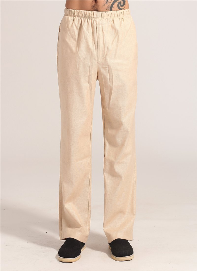 Spring Autumn Beige Chinese Men Kung Fu Tai Chi Pant Cotton Linen Trousers Clothing Size S M L XL XX