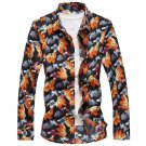2017 autumn Maple leaf pattern shirt Men\'s casual fashion long sleeve shirts Men\'s high quality 10
