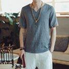 New 2017 summer cotton and linen casual short-sleeve t-shirt men v-neck solid color t-shirt men\'s c