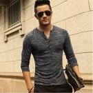 New Men Henley Shirt 2016 new Tee Tops Long Sleeve Stylish Slim Fit T-shirt Button placket Casual me