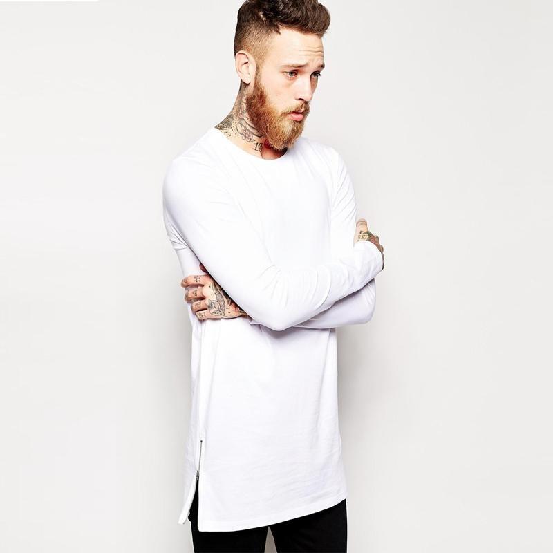 2017 Brand New extra long tee shirt for men hip hop men\'s longline t shirt long sleeve tall tees si