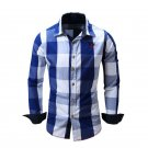 New Spring Casual Brand Slim Fit Men Long Sleeve Shirt Pure Cotton Cowboy Plaid Hit Color Clothes So