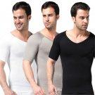 Men Slimming Waist Cincher Belly Fitness V-neck T Shirt Body Shaper Underwear Shapewear Bodysuit