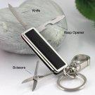 multifunctional scissors knife key chain high quality bottle opener key chain waist hanging key hold