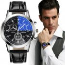 Luxury Fashion Faux Leather Mens Blue Ray Glass Quartz Analog Date Watches