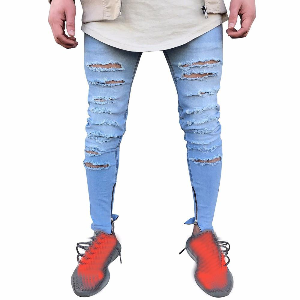 Men\'s Stretchy Ripped Skinny Biker Jeans Destroyed Taped Slim Fit Denim Pants