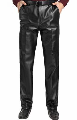 Male winter plus velvet thickening thermal PU leather pants Mens casual loose straight pants outdoor