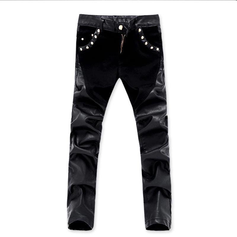 top quality men leather pants faux leather pu material motorcycle skinny denim jeans trousers 28 36