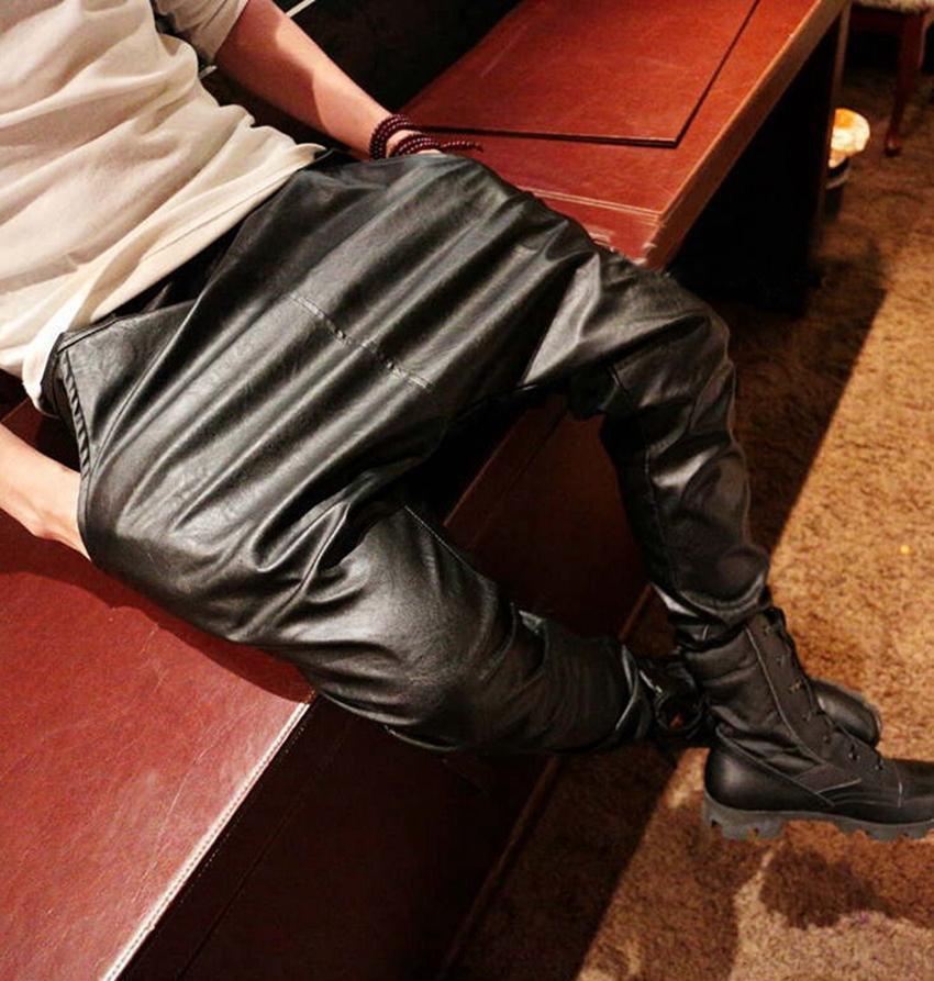 New 2015 Fashion faux leather harem pants men drop crotch pants men baggy pants casual fashion elast