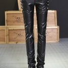 2016 European style Casual Trousers personality Sequined PU Faux Leather patchwork Black harem slim