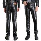 Male Black Faux Leather Pants Motorcycle Biker Ridding PU Trousers For Men Fashion Slim Fit Pencil P