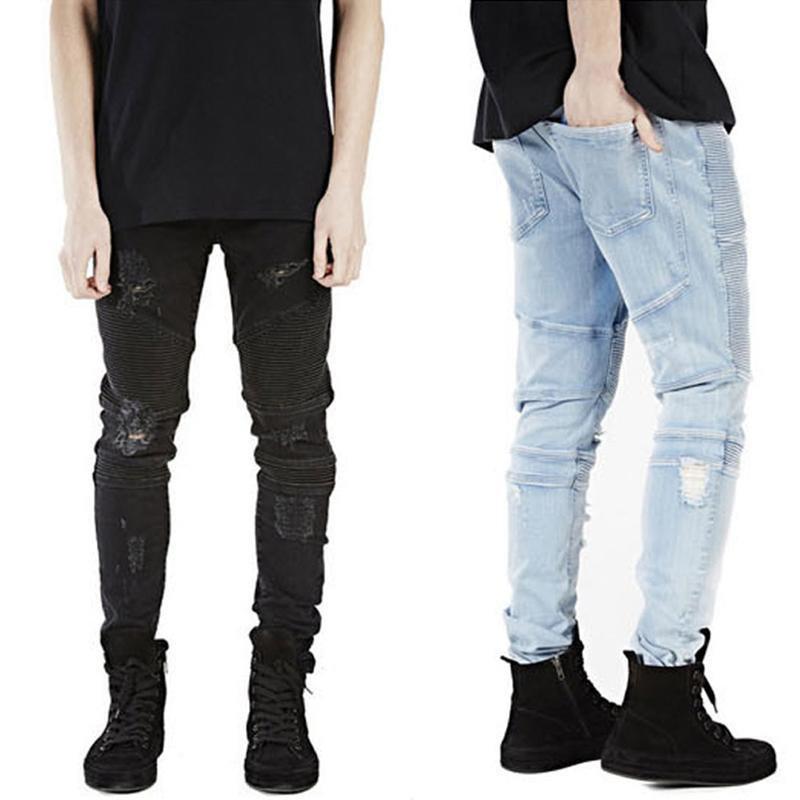 2016 Mens Strech Ripped Biker Jeans Skinny Lt Blue Distressed Kanye West Designer Mens Hole Jeans Hi