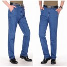 Free shiping Spring autumn male high waist loose elastic jeans casual jeans pants male straight deni