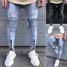 Fashion Casual Men\'s Cotton Skinny Slim Jeans Pencil Pants Hole Long Black Blue Mid Waist