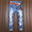 2017 New fashion blue ripped solid zipper fly summer Men\'s Slim Runway Straight Denim Pants Destroy