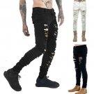 Men\'s Slim Skinny Runway Straight Elastic Denim Pants Destroyed Ripped Jeans Hole Casual Brief Men