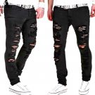 Mens Casual Skinny Jeans Pants Men Solid Black White Pencil Jeans Ripped Beggar Jeans With Knee Hole