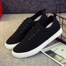 Men shoes fashion black/white lace-up canvas shoes breathable men casual shoes flat quality size 39-