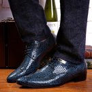 Men\'s Fashion Business Wedding Dress Shoes Snake Skin Pattern Leather Shoes Casual Pointed Toe Flat