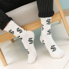Fashion Spring Autumn Men Socks Dollar Symbol Printed Comfortable Breathable Absorb Sweat Anti-slip