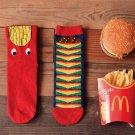 Novelty Cute Fashion Funny Chips Hamburger Printing Cotton Men Socks Casual Originality Red Calcetin