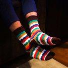 Men\'s Funny Socks Striped Color Socks For Men Short Cotton Socks Warm Diamond Printing Casual Stand